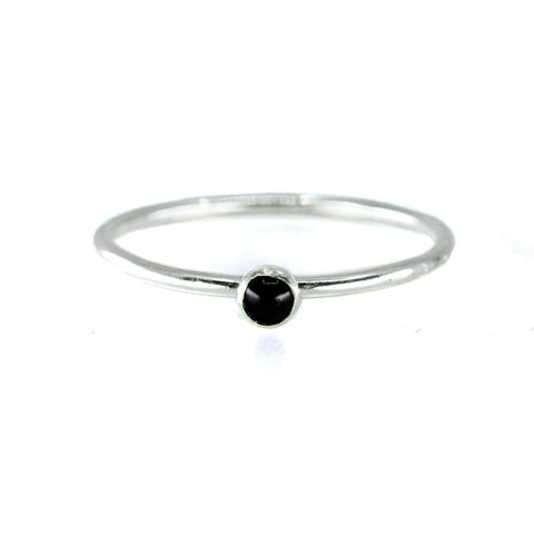 mini black onyx stone gemstone birthstone sterling silver ring