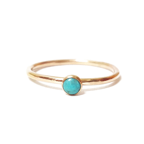 mini turquoise stone gemstone birthstone gold stacking ring
