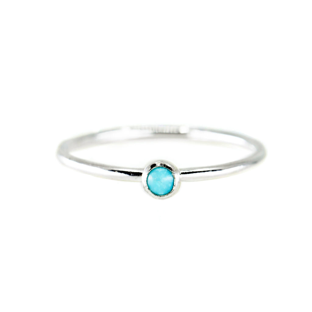mini turquoise stone gemstone birthstone dainty sterling silver stacking ring