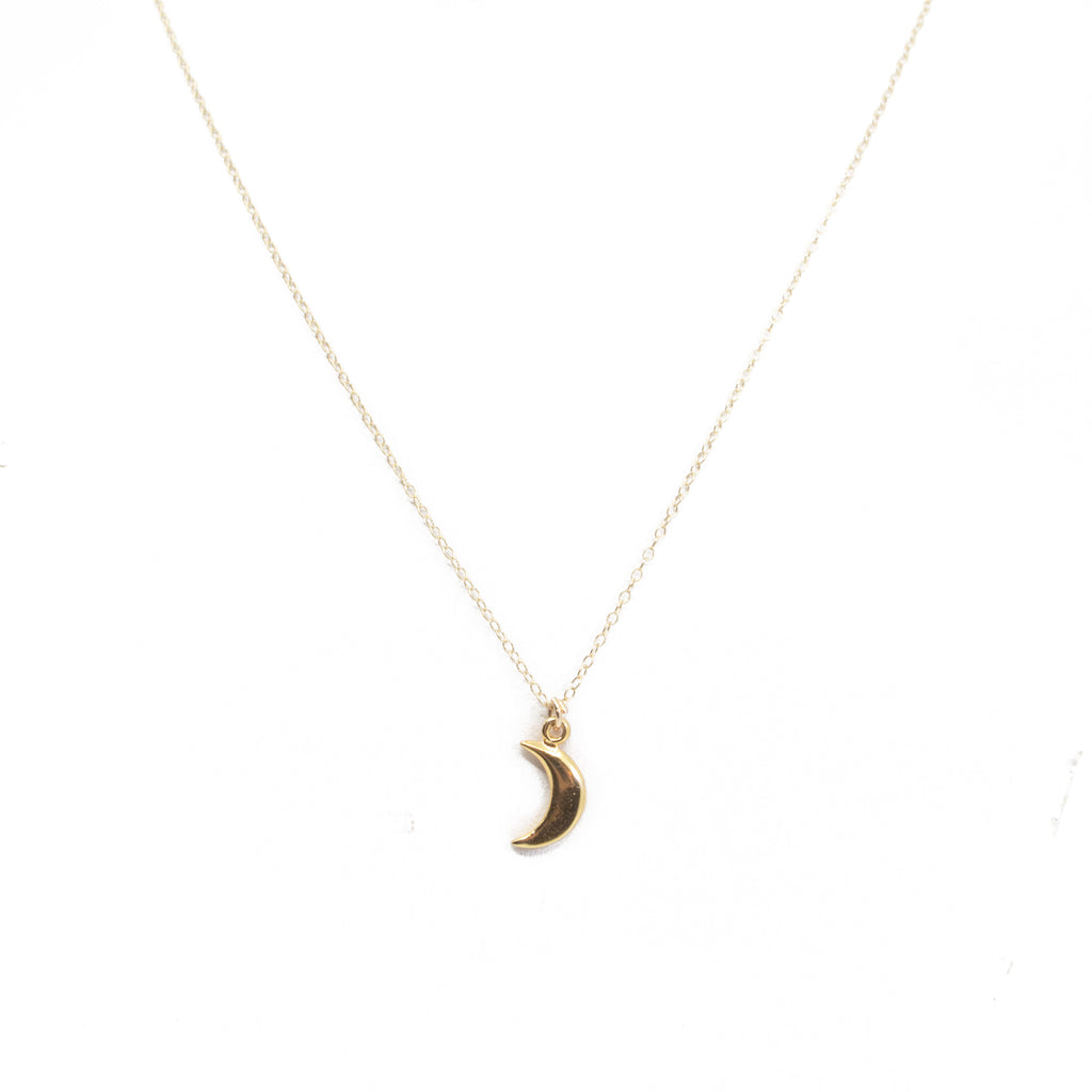Gold Moon Pendant Charm Necklace