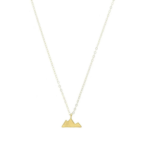 minimalist gold mountain charm necklace
