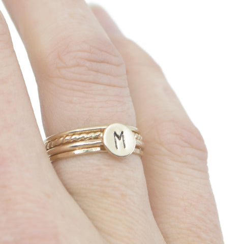 One Initial Stacking Set in Gold