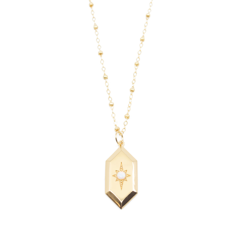 Sloane Opal Amulet Necklace in Gold