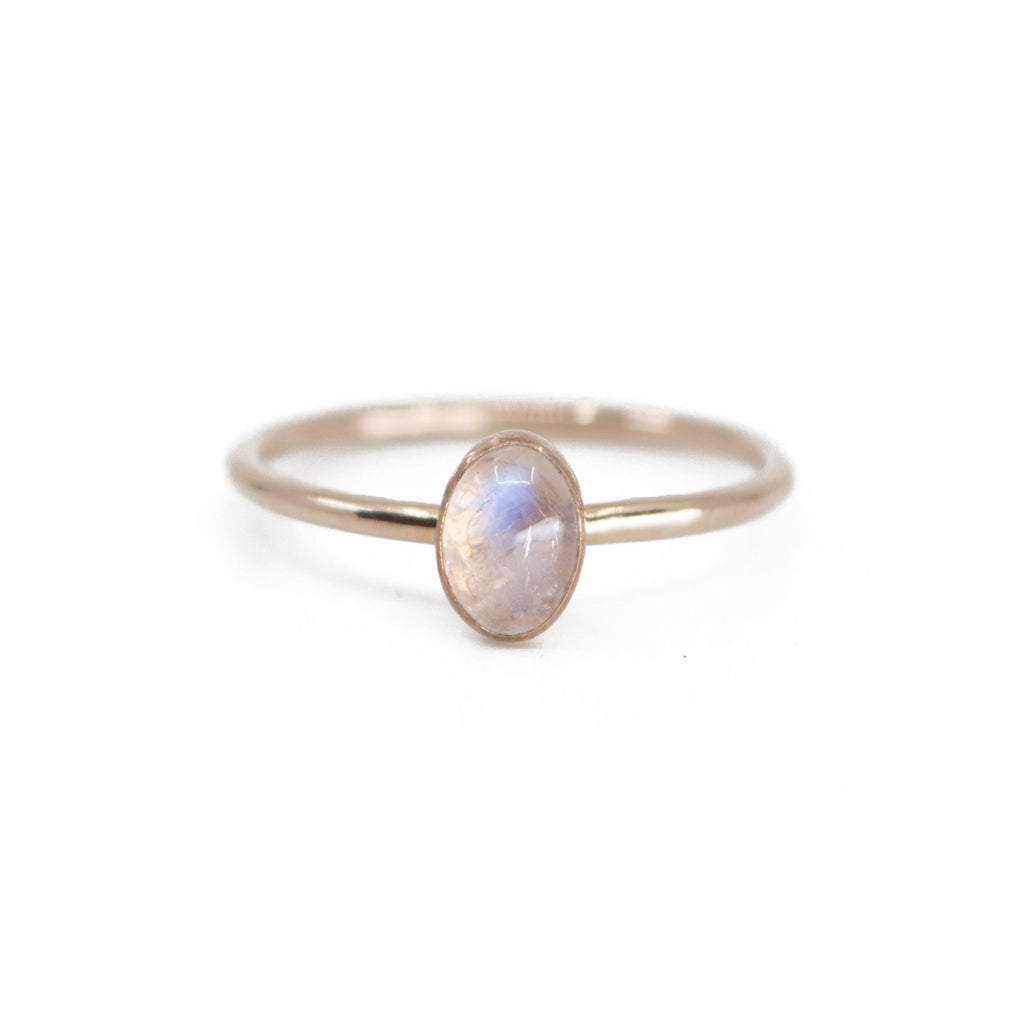Oval Moonstone Stacking Ring in Gold