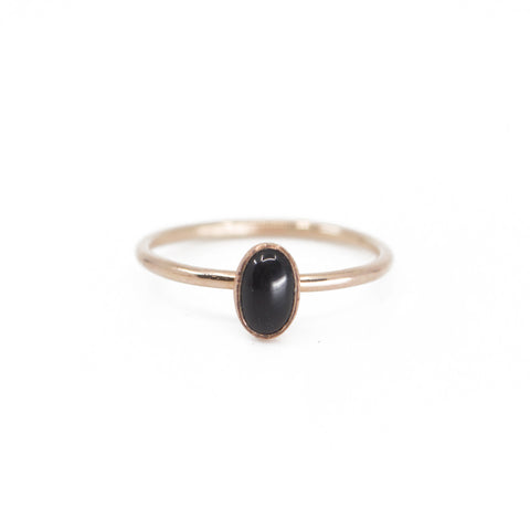 Oval Onyx Stacking Ring in Gold