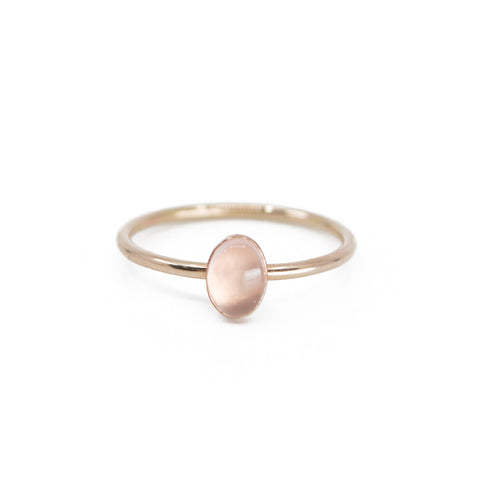 Oval Rose Quartz Stacking Ring in Gold