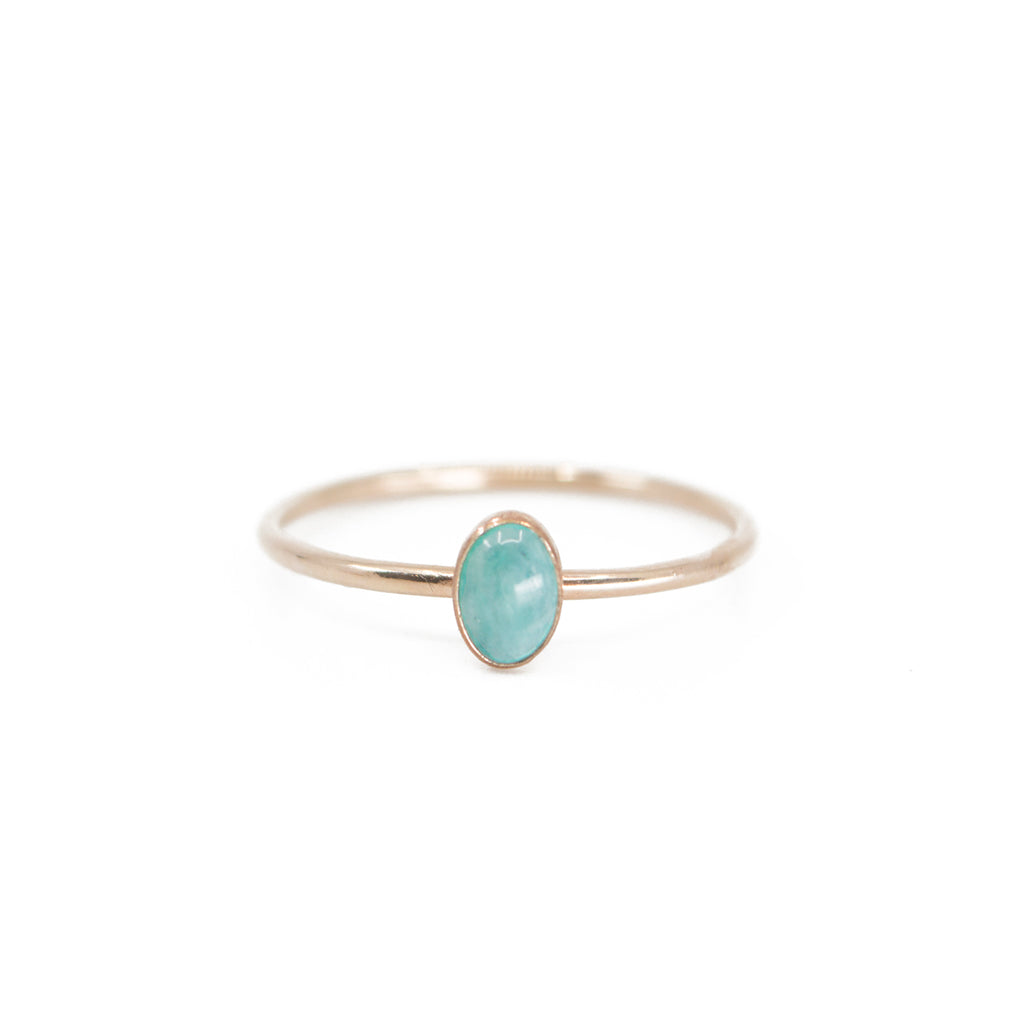 Oval Turquoise Stacking Ring in Gold