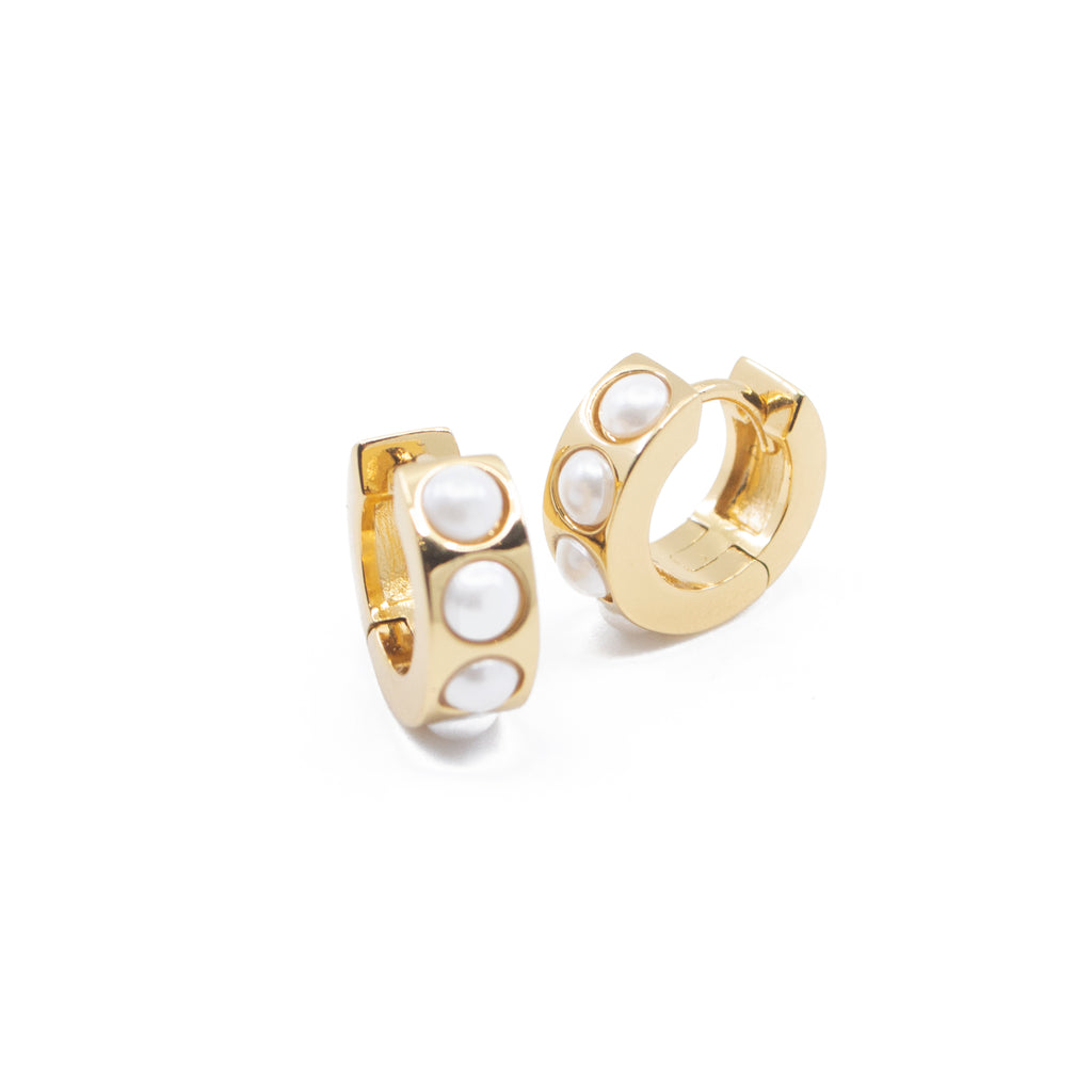 Pearl Wide Huggie Hoop Earrings in Gold