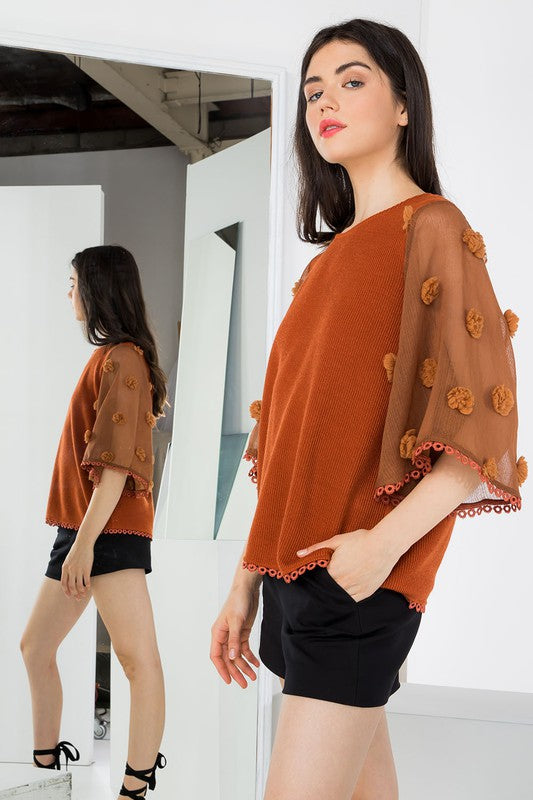 Pom Sleeve Top in Rust