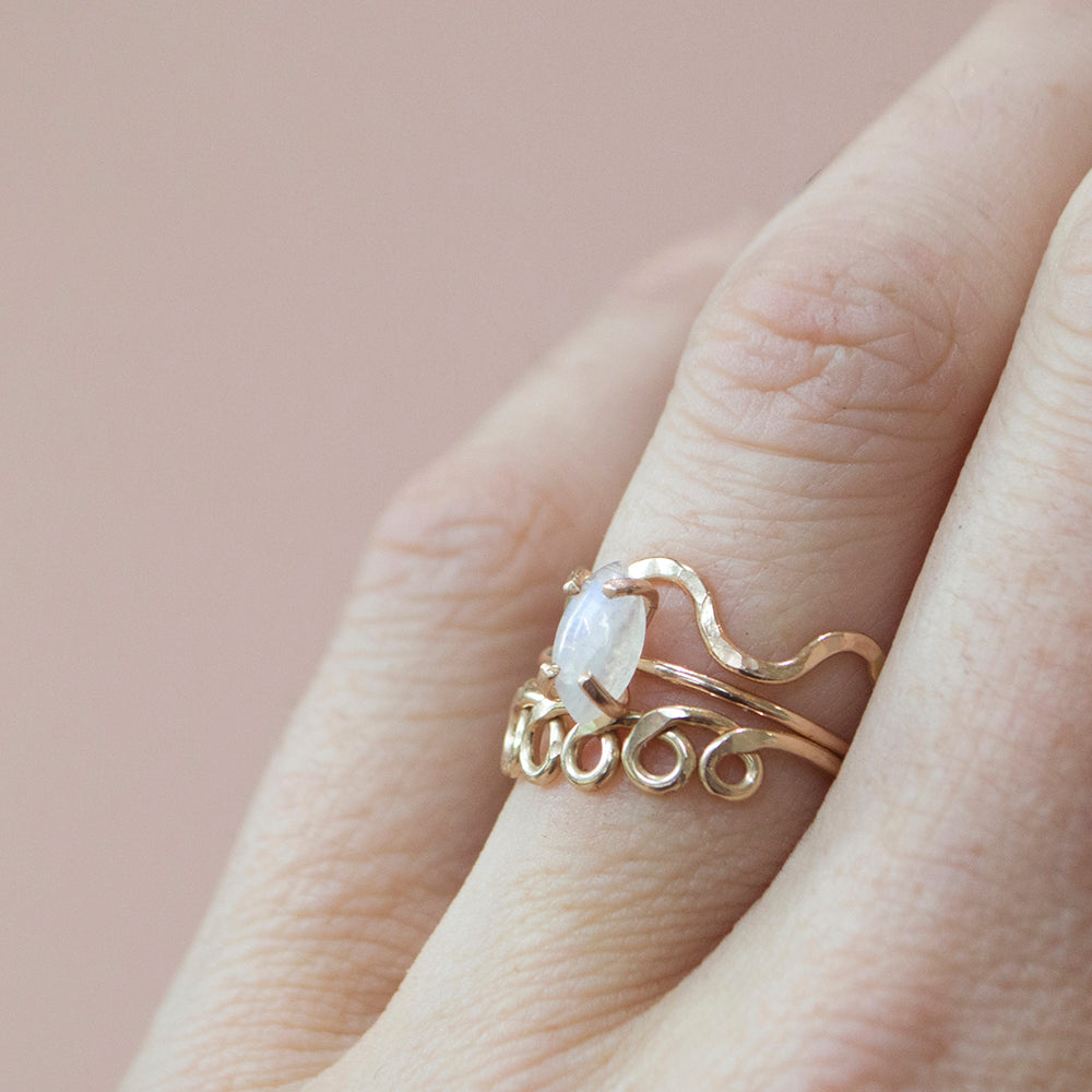 Rainbow Moonstone Marquise Cut Ring in Gold