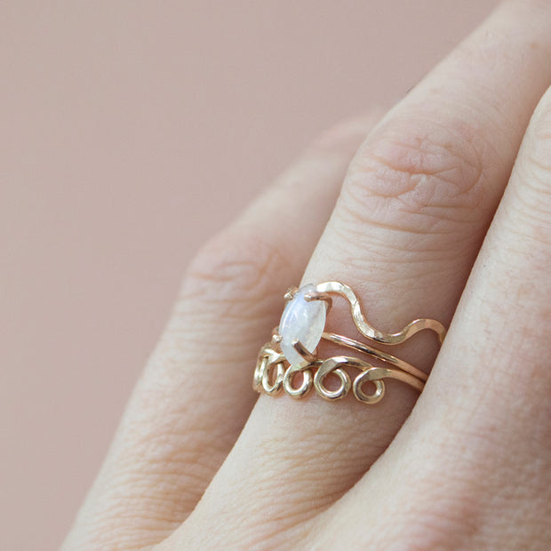 Rainbow Moonstone Marquise Cut Ring in Silver 1