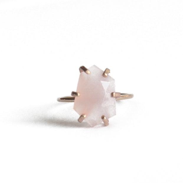 Rose Cut Pink Chalcedony Ring in Gold 1