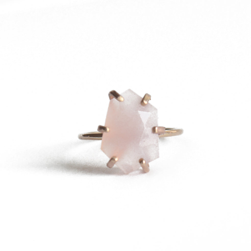 rose cut pink chalcedony stone gemstone ring gold