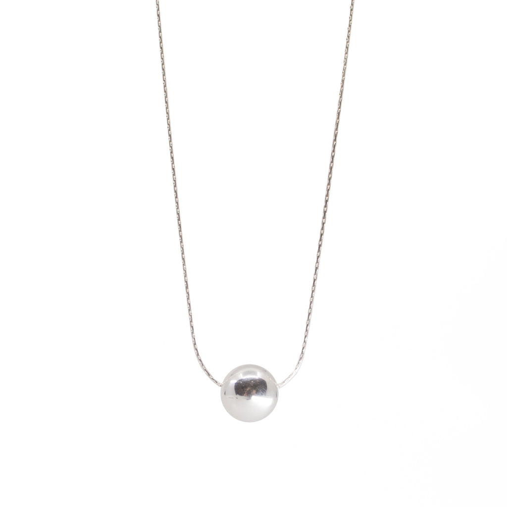 Minimalist dainty sterling silver ball necklace