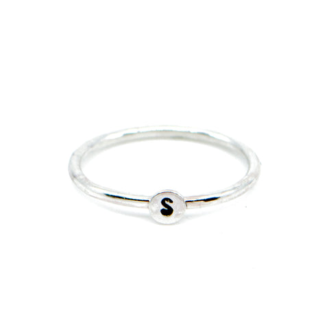 initial personalized monogram sterling silver jewelry minimalist stacking ring