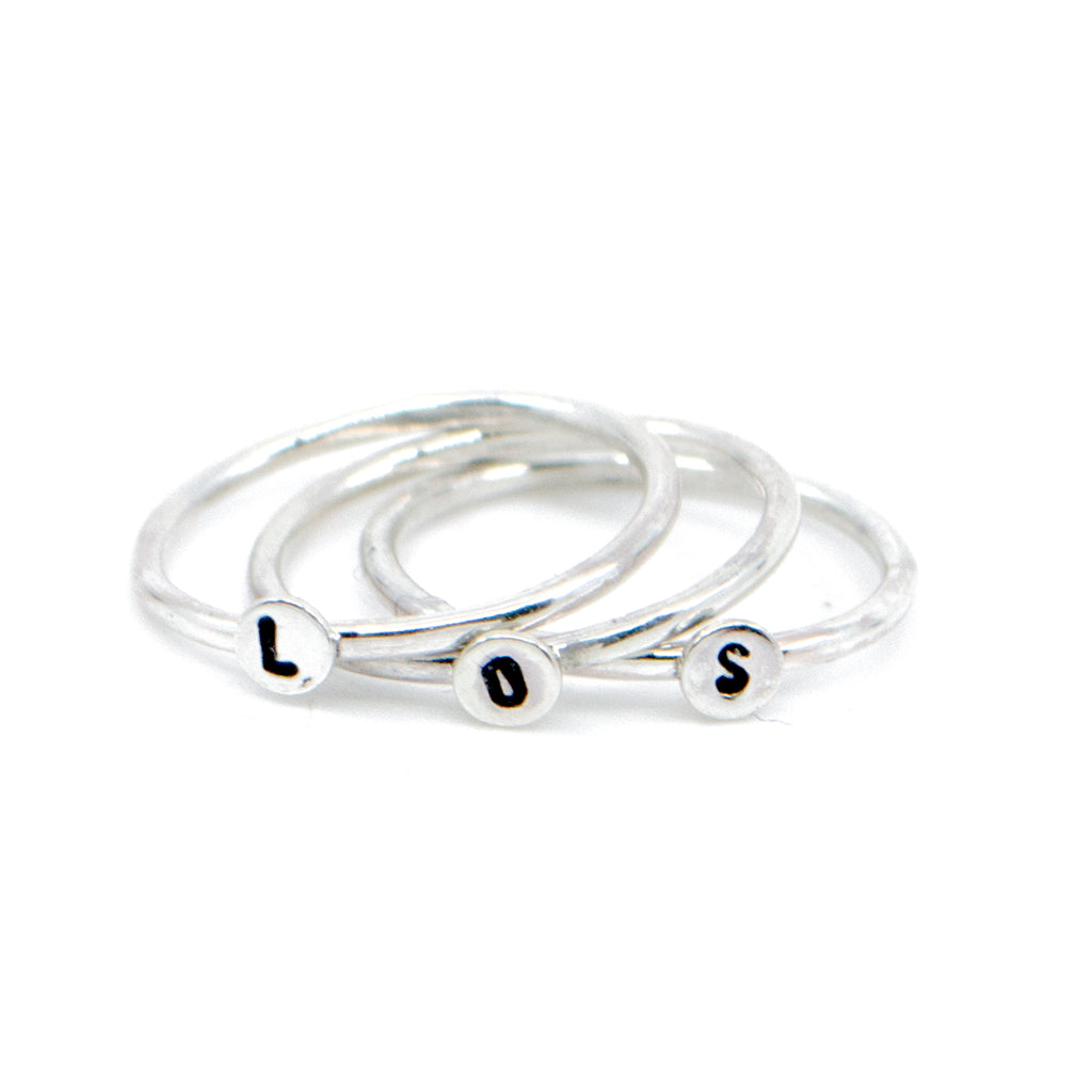 Mini Letter Initial Stacking Ring in Sterling Silver