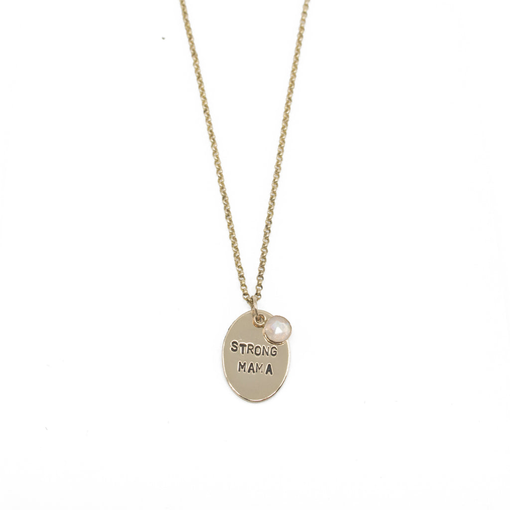 Custom Stamped Oval Necklace in Gold