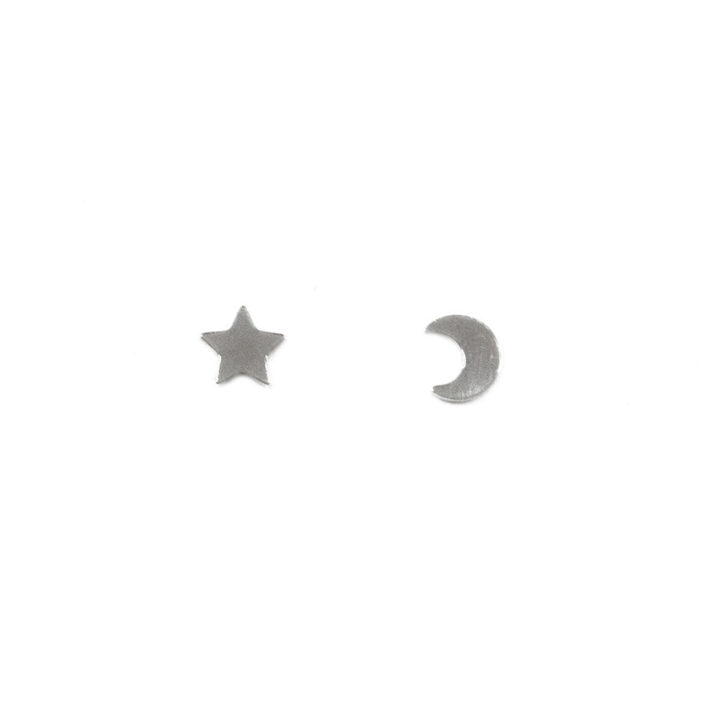 Dainty minimalist star and moon stud earrings