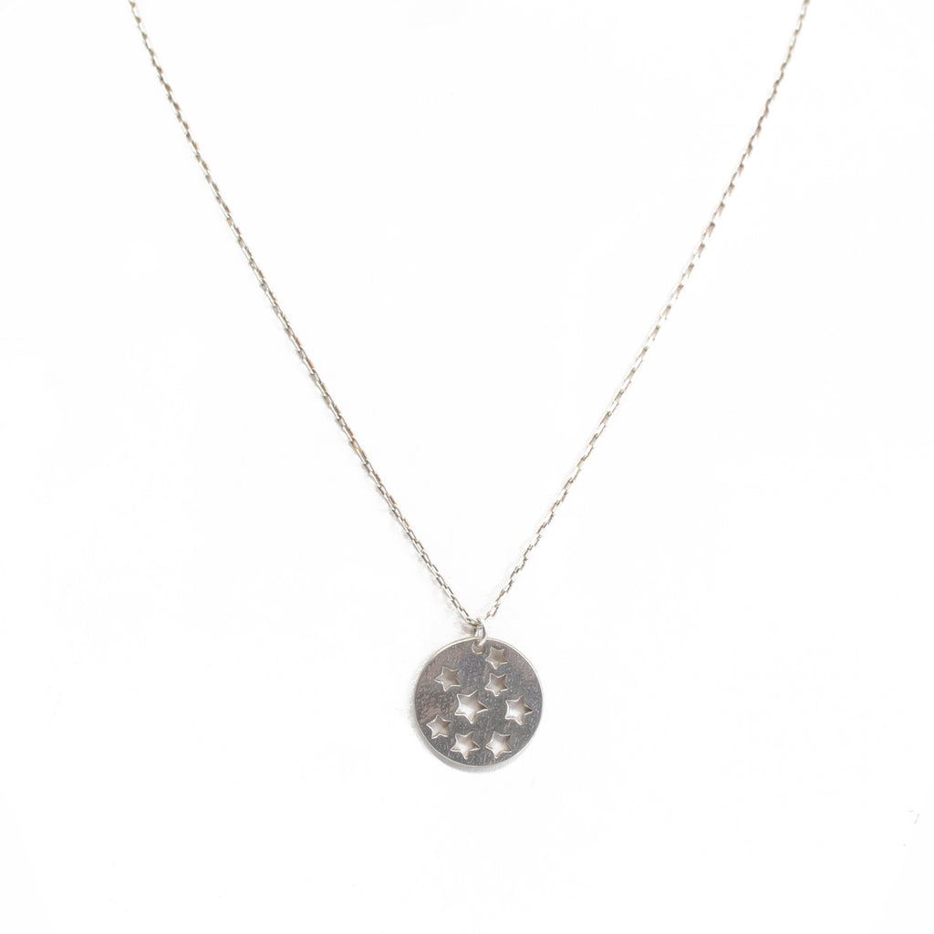 Silver Stars Disc Charm Necklace