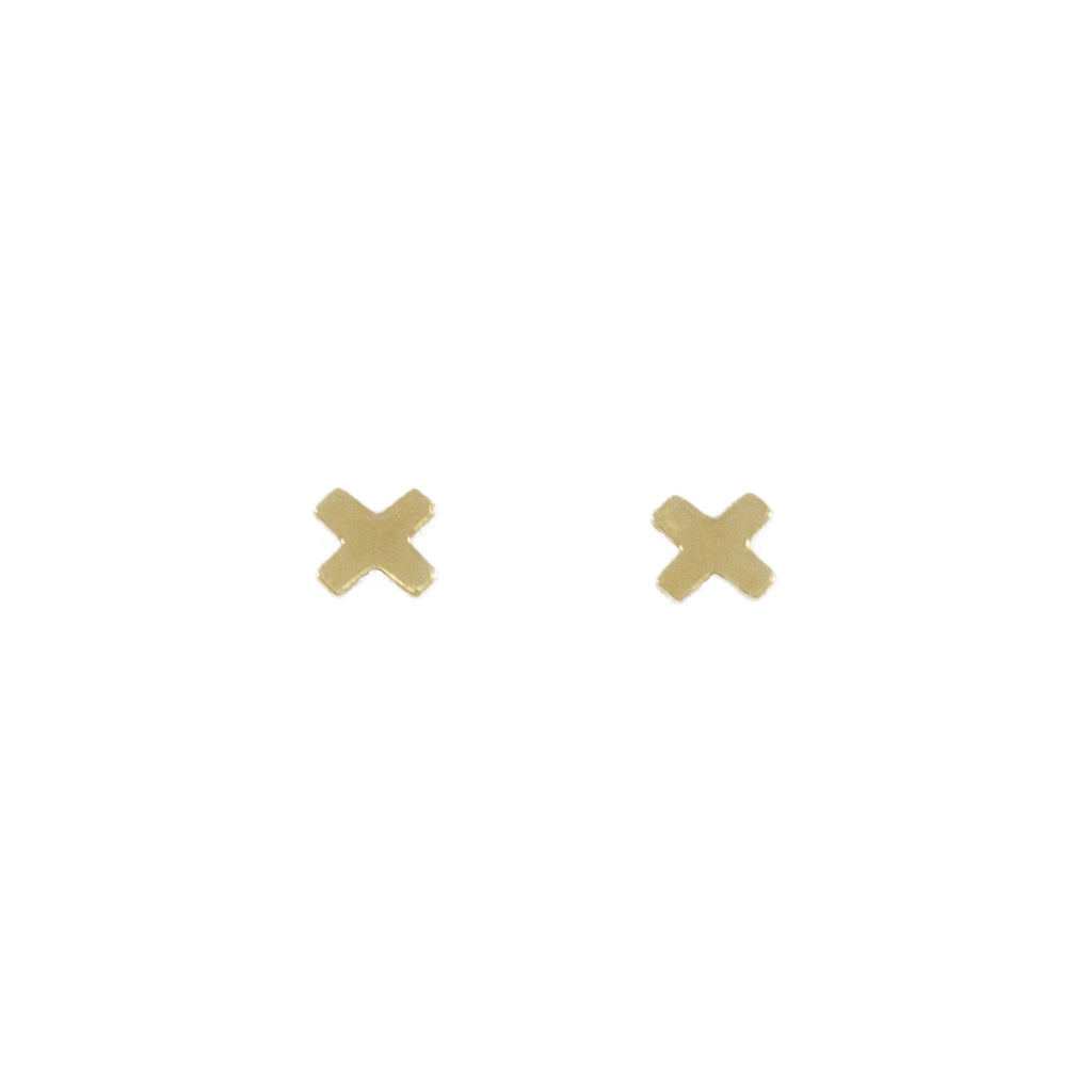 Dainty minimalist X gold stud earrings