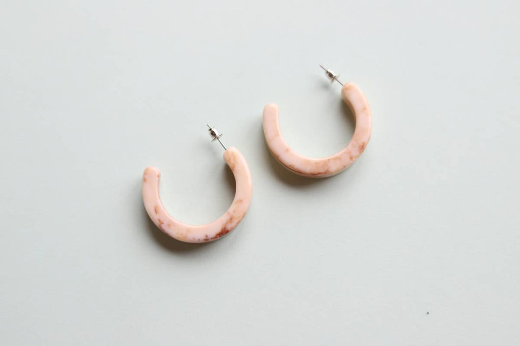 Thick Cream Hoop Earrings