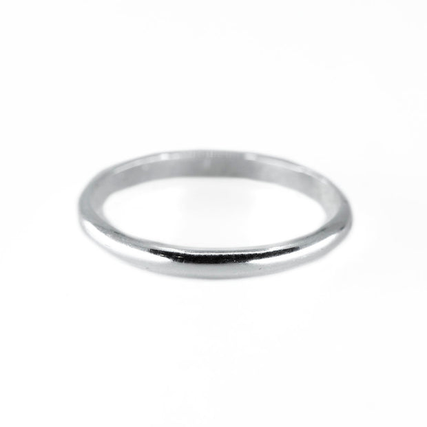 Thick Half Round Stacking Ring in Silver 1