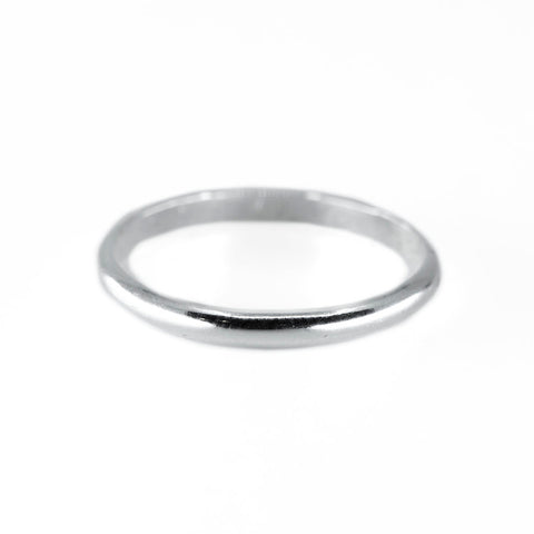 Thick Half Round Stacking Ring in Silver