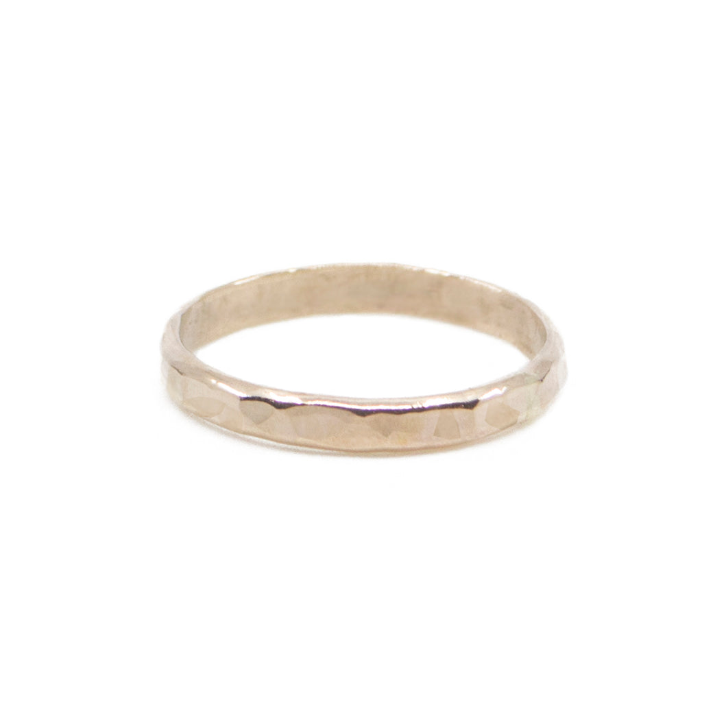 hammered thick band stacking ring gold