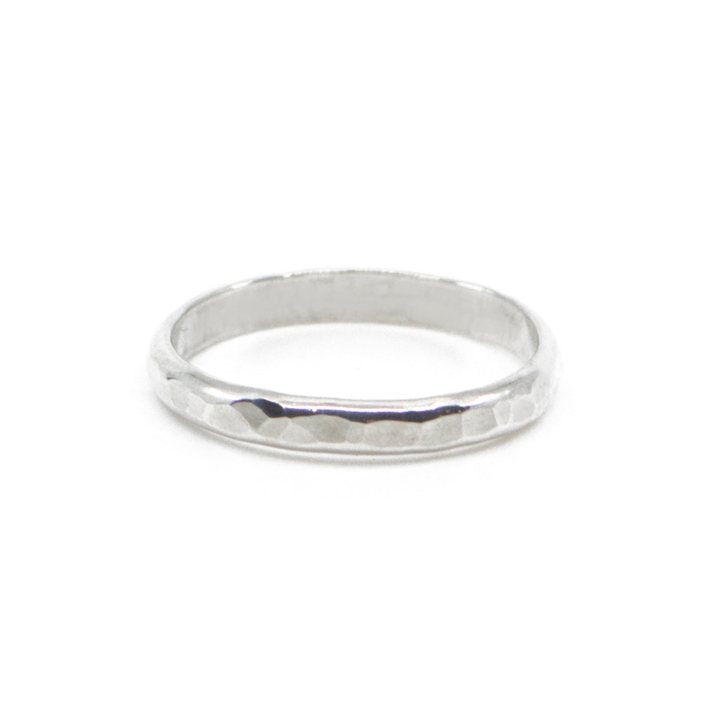 thick hammered sterling silver minimal stacking ring