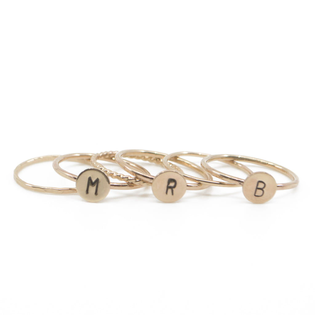 Three Initial Stacking Set in Gold