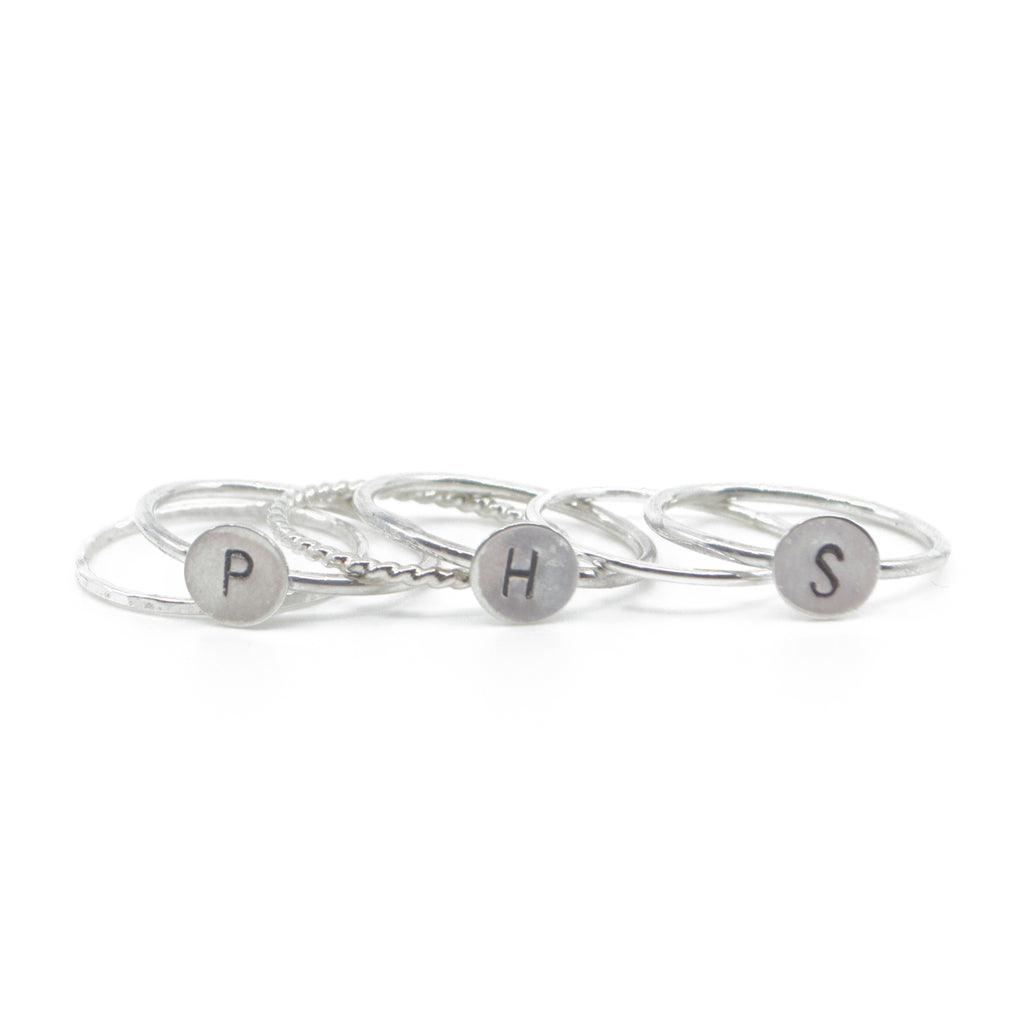 Three Initial Stacking Set in Silver