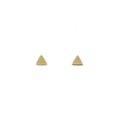 Tiny Triangle Stud Earrings in Brass