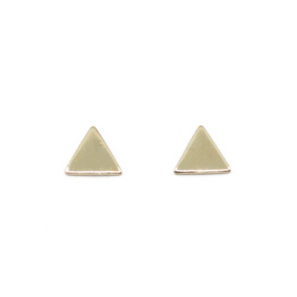 Tiny triangle mini gold dainty stud earrings