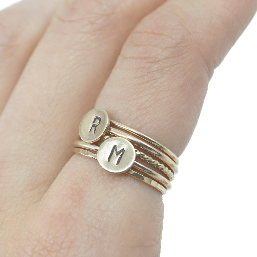 Letter Initial Stacking Ring in Gold