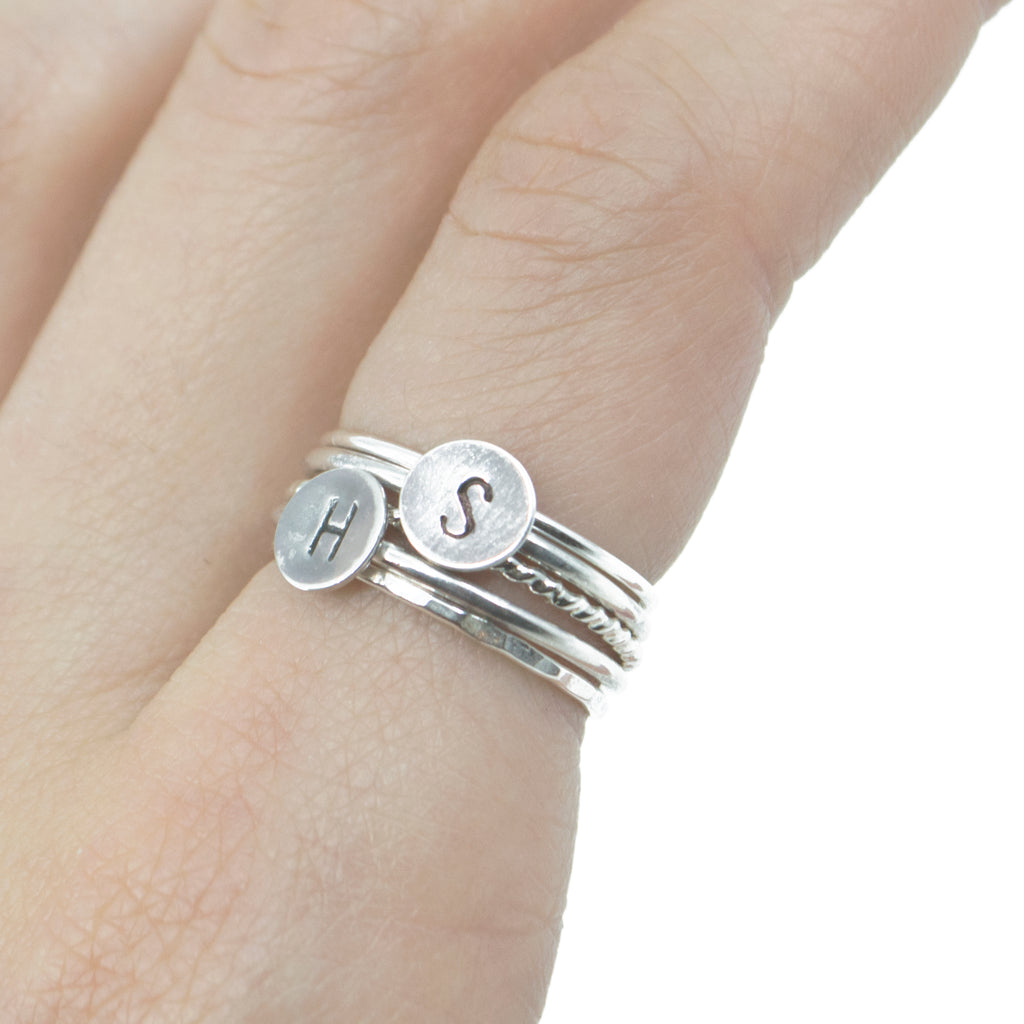 Letter Initial Stacking Ring in Silver