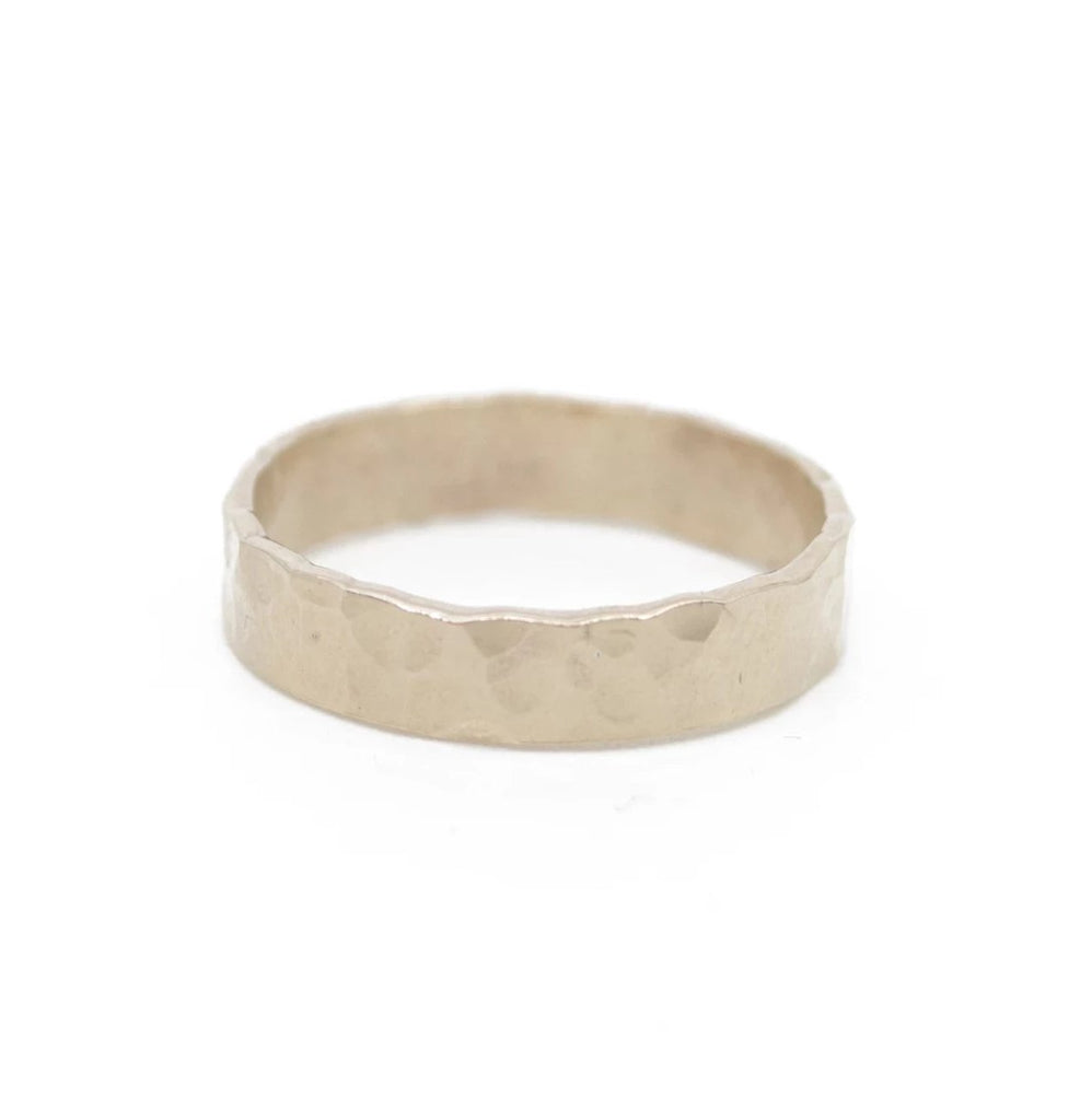 thick hammered gold band stacking ring
