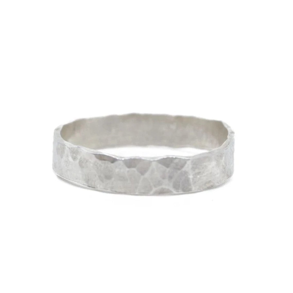 hammered thick sterling silver stacking ring