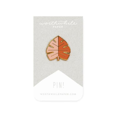 MINIMAL BLUSH & ORANGE MONSTERA LEAF ENAMEL PIN