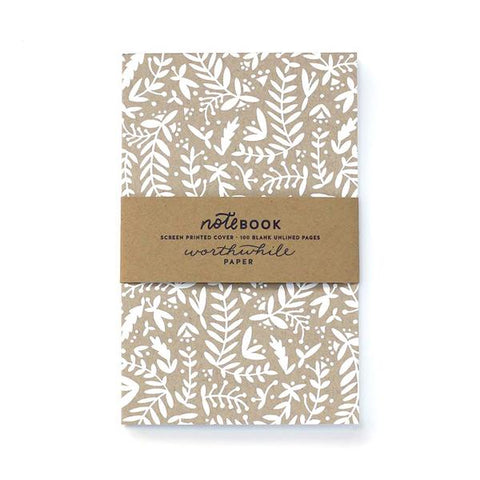 WHITE & KRAFT NATURE PATTERN NOTEBOOK