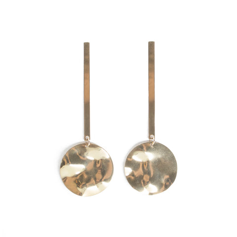 Minimalist drop brass earrings