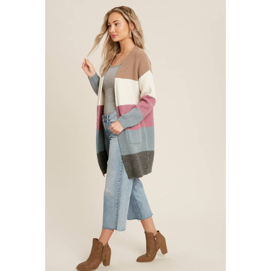 COLOR BLOCKED OPEN FRONT CARDIGAN