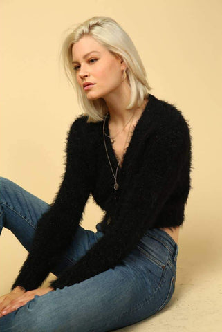 Fuzzy Cropped Cardigan