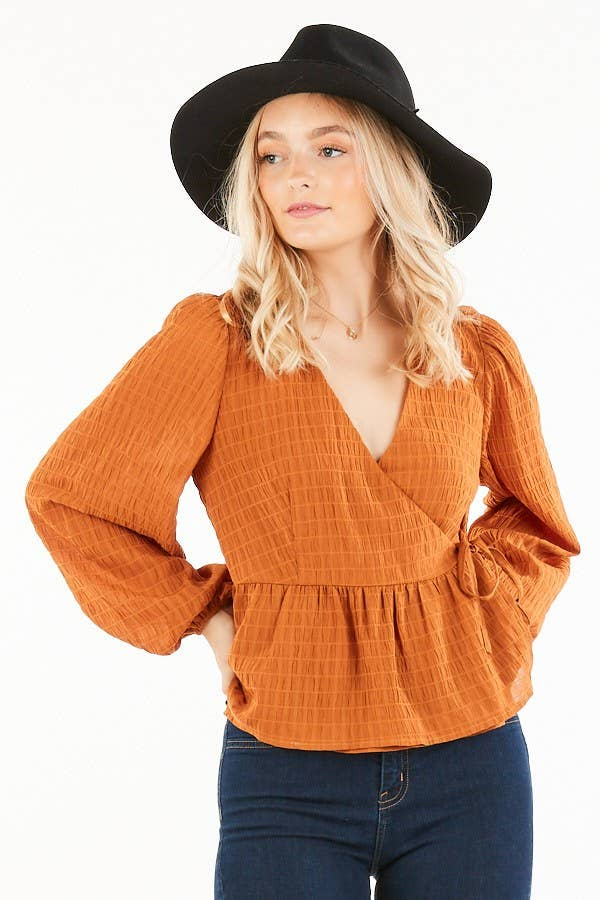 Wrap Peplum Blouse in Rust