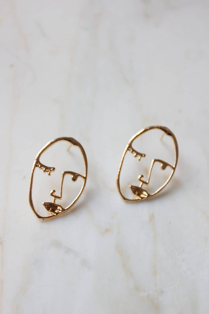 Visage Face Studs in Gold
