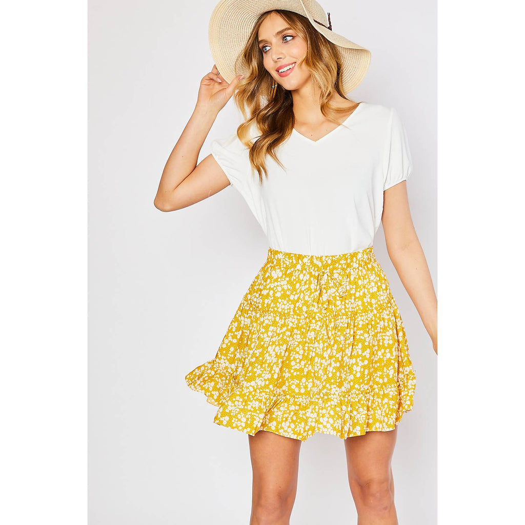 DAISY FLOWER PRINT RUFFLE MINI SKIRT