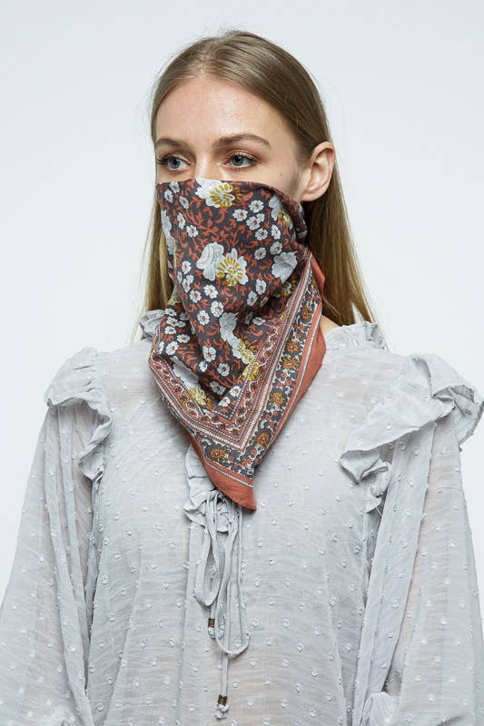 Floral Bandana in Rust
