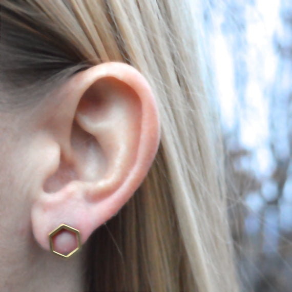 Honeycomb Geometric Brass Earrings