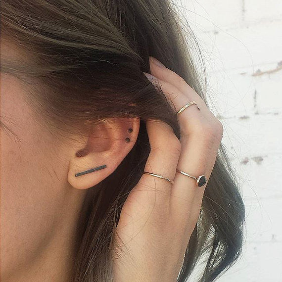 Blackened Bar Ear Climber Earrings