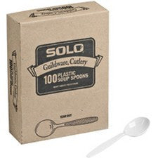 Pantry Supplies - Solo White Heavyweight Guildware Soup Spoons