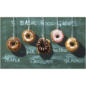 Five Food Groups, donuts, diet humor, kitchen art, Richard Hall, canvas giclee print